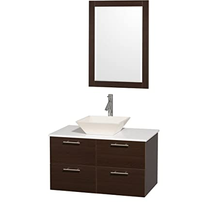 Wyndham Collection Amare 36 inch Single Bathroom Vanity in Espresso with White Man-Made Stone Top with Bone Porcelain Sink, and 24 inch Mirror