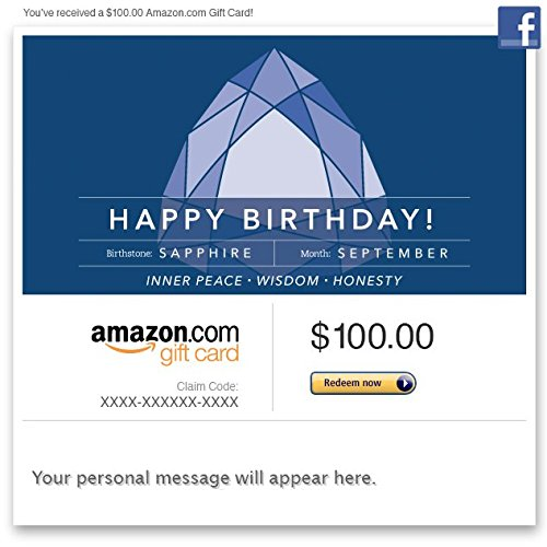 Amazon Gift Card – Facebook – Birthday Birthstone: September (Sapphire)