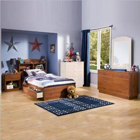 Cheap South Shore Logik Kids Sunny Pine Twin Wood Storage Bed 4 Piece Boys' Bedroom Set (3342213-4PKG)
