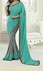 Women's Latest Designer Printed Georgette Saree with Blouse piece By Maahi Fashion (green)