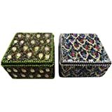 Decorative Jewellery Box Handmade Indian Vintage Style Home Decor Table Top Gift Ring Storage Boxes Set Of 2 Pcs