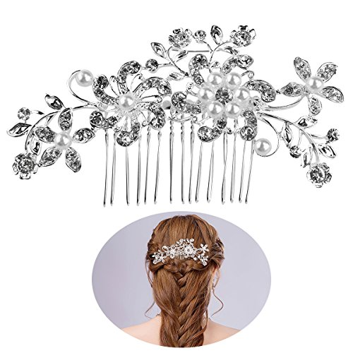 FENICAL Bridal Hair Pieces Tiara Hair Pins Women's Crystal Rhinestones Pearls Decor Flower Style Hair Comb Clip