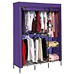 Homdox Storage Organizer Wardrobe Clothing Closet Freestanding Double Rod Non-woven Fabric Organizer w/Shelves