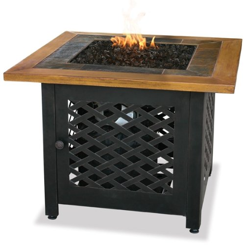 Endless-Summer-GAD1391SP-LP-Gas-Outdoor-Firebowl-with-Slate-and-Faux-Wood-Mantel