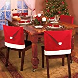 Estone® 4pcs Santa Clause Red Hat Chair Back Covers for Christmas Dinner Decor