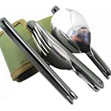 BXT Stainless Steel Professional Military Style Compact Foldable Cutlery Utensil Set for Travel Outdoor Camping Hiking Picnic BBQ Fishing/Packed Lunch Fork Knife Spoon three pieces Portable Pocket Tableware Dinnerwar Set in Canvas Carry Pouch