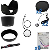 BIRUGEAR 12 Items Value 58mm Lens Accessories Bundle kit for Canon Digital SLR EOS 100D 700D 1000D 400D 450D 500D 550D 600D 1100D 40D 50D 60D 60Da 7D 5D Mark III(with 18-55mm, 75-300mm, 50mm 1.4, 55-200mm Lenses)