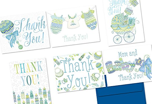 72-note-cards-extra-sprinkles-baby-thank-you-blue-6-designs-blank-cards-cobalt-blue-envelopes-includ