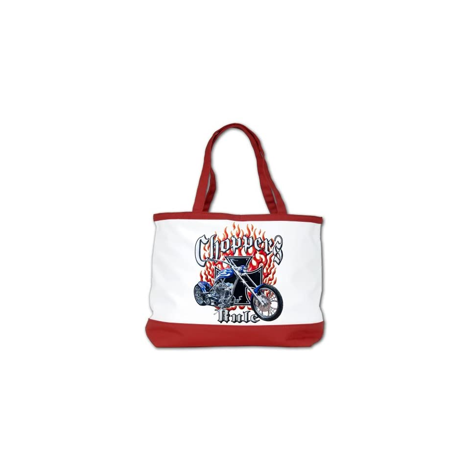 Shoulder Bag Purse (2 Sided) Red Choppers Rule Flaming Motorcycle and Iron Cross