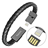 Valentines Day Gifts Bracelet Lightning Cable Data Charging Cable for iphone- Durable Leather Bracelet Charger Braided Wrist Cuff USB for iphone Plus X iPAD (Black, L(8.2