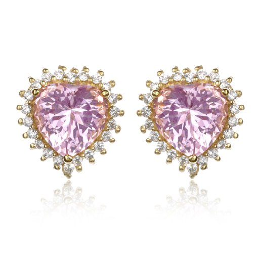 Pink CZ Heart Earring in Gold Plate