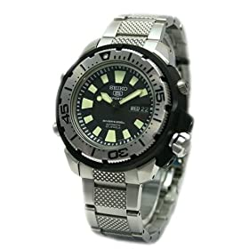 Seiko 5 Sports Men's 200M Stainless Steel Silver Self Winding Automatic Diver Watch with Black Face Model SKZ247K1