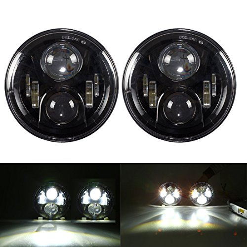 7-Inch-Round-LED-Headlights-Cree-Chips-Lamp-H4-H13-Projection-Headlight-Kit