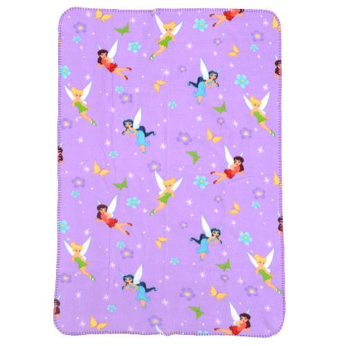 Tinkerbell Disney Fairies Toddler Plush Lavender Blanket - 1