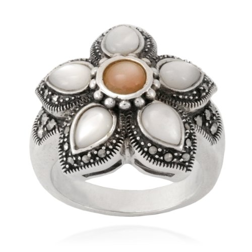 Sterling Silver Marcasite, Mother-Of-Pearl and Pink Shell Flower Ring, Size 6