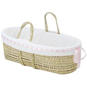 Baby Doll Bedding Pretty Ribbon Moses Basket, Pink