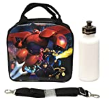 Disney Big Hero 6 Baymax, Hero, Tomago, Fred, Wasabi, and Honey Lemon Lunch Box Bag w/ Shoulder Strap + Water Bottle - Black