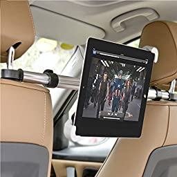 Megadream® Universal 360 Degree Rotation In Car Adjustable Headrests ABS Mount Holder with Aluminum Pole for 7 to 11 inch Tablet PC iPad, Asus, Lenovo, Dell, Acer, HP, LG, Toshiba, Google Nexus, Archos