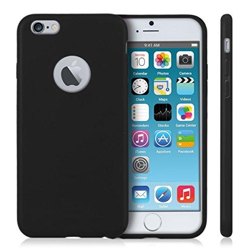 """LONVIPI® Cover Apple iPhone 6 e 6s 4.7"""" Colore NERO Con Ritaglio Posteriore Che Non Nasconde Il Logo Dello Smartphone Custodia Colorata Molto Morbida Ultra Sottile Silicone Gel Tpu Per Apple iPhone 6 e 6s modello 2014 e 2015 LONVIPI®"""