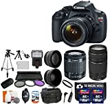 Canon EOS Rebel T5 18.0 MP CMOS Digital Camera SLR Kit With Canon EF-S 18-55mm IS II Lens + Wide-Angle Lens + Telephoto Lens + 8GB and 16GB Card + Card Reader + Case + Battery + Flash + Tripod + Remote + 58mm Filter Kit - 24GB Deluxe Accessories Bundle (18-55mm + 75-300mm Bundle)