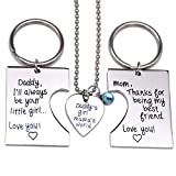O.RIYA Daddy's Girl Mommy's World / Daddy Girl Mommy World Set Little Girl Kids Love Fathers Day Mothers Day Stole Heart 3 Piece Keychain Pendant Necklace Set, Gift for Daughter, Mommys Little Girl, Mums Girl Necklaces Set for 3 Stainless Steel
