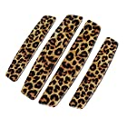 4 in 1 Leopard Print Stick-on Car Door Trim Guard Bumper Sticker Brown