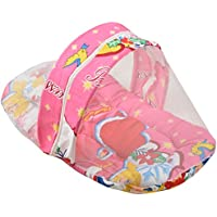 DIZEN Star Cotton Baby Bedding With Mosquito Net (Pink)