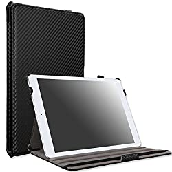 MoKo Apple iPad Air Case - Slim-Fit Case with Stand for iPad 5 Air (5th Gen) Tablet Carbon Fiber BLACK (With Smart Cover Auto Wake / Sleep)
