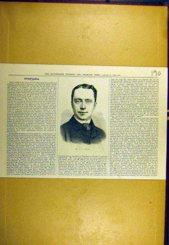 1883 Portrait Dallas Sporting Dramatic News Old Print