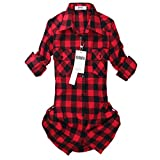 OCHENTA Womens Mid Long Style Roll Up Sleeve Plaid Flannel Shirt C056 Red Black Label 7XL - US 16