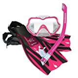 New Oceanic Ocean Pro Ningaloo Junior Mask, Grommet Snorkel, Heron Fins & Carry Bag - Pink (Shoe Size 1-4)