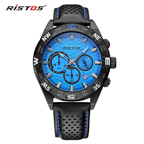 LONGBO Mens Unique Military Black Leather Band Analog Quartz Watches Real Chrono Eyes Blue Dial Date Calendar Multifunctional Wristwatch Sportive Waterproof Luminous Watch For Man (Red Line Orange Dial Watch compare prices)