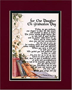 A Graduation Gift For A Daughter. Touching 8×10 Poem, Double-matted in Burgundy Over Dark Green and Enhanced with Watercolor Graphics. – Amazon.com