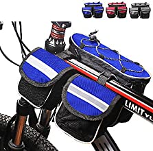 600D Polyester and Mash Cloth Blue Waterproof Shakeproof Bicycle Frame Bag