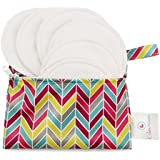 Baby Pavilion Washable Organic Bamboo Nursing Pads (4 Pair) With Multi Color Laundry Bag - Reusable, Ultra Soft...