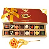 Heavenly Chocolate Treat With 24k Gold Plated Rose - Chocholik Belgium Chocolates