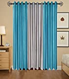 Indian Online Mall Plain Door Curtain (Pack of 2), Aqua and Gray