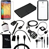 DigitalsOnDemand 13-Item Accessory Bundle for Samsung Galaxy Note 3 III N9000 - Leather Case, TPU Cover, Screen Protector, USB Cables + Chargers