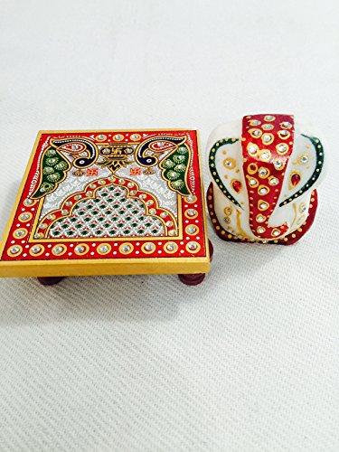 Jaipur Raga Meenakari Work Lord Ganesha Idol n Marble Made Fancy Pooja Chowki