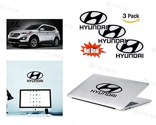 Hyundai Logo Stickers Decal - Set of 3 Decals - High Resolution, Superior Finish and Transparent Background - Ideal for Car, Motorcycle, Laptop, Macbook, iMac, Windows and Wall Art (Hyundai Getz Rims compare prices)