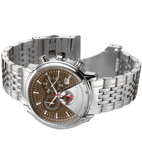 CAL ALEXANDER MENS CHRONOGRAPH & SWISS MOVEMENT DESIGNER TIMEPIECE Mens Stainless Steel Chocolate Dial 0.145ctw Diamond