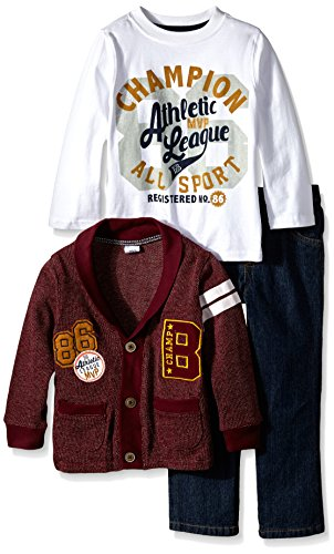 BoyzWear Little Boys' 3 Piece Cardigan Set with Champion All Sport Pullover, Red, 5