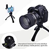 """Tripod with Mount for iPhone, Samsung, Android Cellphone, Mini Tripod Mount + Phone Holder Clip Desktop Tripod, 1/4"""" Screw Tripod for Digital Camera, DSLR Camera, Take Beautiful Videos and Selfies"""
