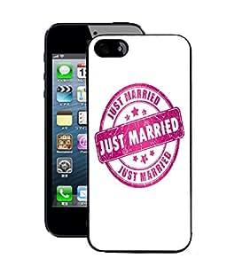 Fuson 2D Printed Just Married Rubber Stamp Designer Back Case Cover for Apple iPhone 5 - D672