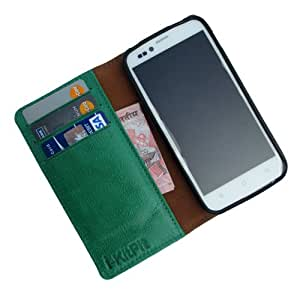 i-KitPit - Genuine Leather Wallet Flip Case Cover For Maxx AX5 (GREEN)