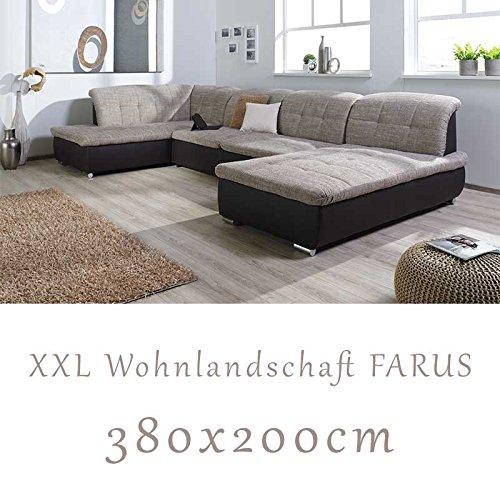 Wohnlandschaft, Couchgarnitur XXL Sofa, U-Form, braun/cappuccino, Ottomane links günstig online kaufen