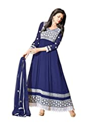 G & S Fashion Womens Faux Georgette Blue Dress Material