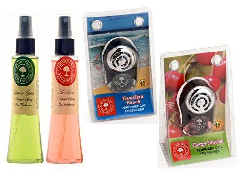 Aromatree Air Fresheners (lemon Grass 75 Ml, Tea Rose 75 Ml, Hawaiian Beach 10 Ml, Cherry Blossom 10 Ml) Pack Of 4 Image