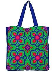 Fatfatiya Beautiful Blue Pink Flower Women's Tote Bag Multicolor FTTB0044