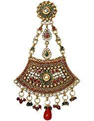 DollsofIndia Polki Jhoomar / Mang Tika - Stones And Metal - Length 5 Inches - Red